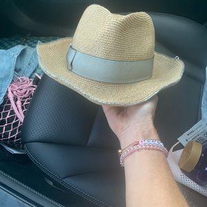 Eugenia Kim straw hat with metallic silver trim